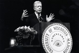 Former president Jimmy Carter gives a speech at the University of Wisconsin-Madison's Memorial Union Theater in March 1994. Madison, Wisconsin.