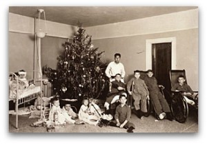 Christmas tree and patients at Bradley Memorial Hospital from the Wisconsin Traditions of Social Care Collection