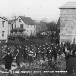Cadets marching through Camp Randall Arch, 1929. #S05418