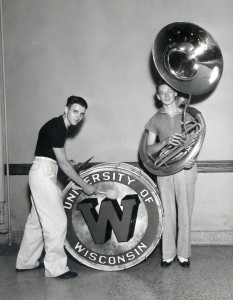 UW Band percussionist and tuba player, 1950s. #S06271