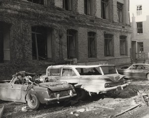 Photograph taken after the explosion targeting the Army Mathematics Research Center (AMRC) at the University of Wisconsin--Madison campus.