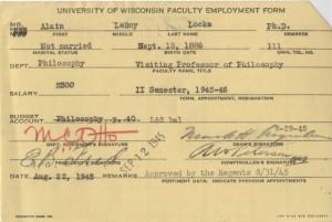 Locke's faculty employment card, 1945