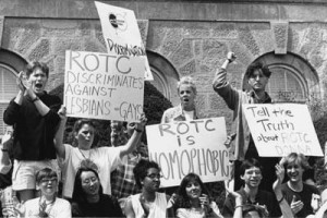 ROTC protest on Bascom Hill, 1990