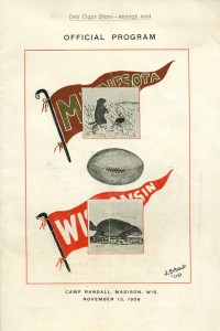 Football program, UW vs MN. 1909.
