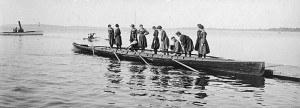 Women standing on a crew boat, 1902.