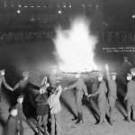 Effigy burning on campus.