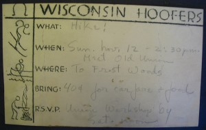 Signup sheet for Hoofers hike, 1930s