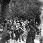 Students dodge tear gas on campus.