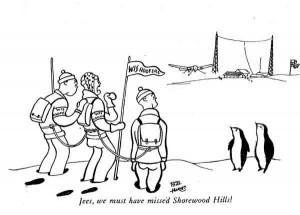 "December 1933 Octopus cartoon: ""Jees, we must have missed Shorewood Hills!"""