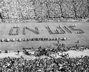 """UW band performs """"On, Wisconsin!"""" at half time."""