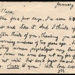 Mildred's postcard to Clara Leiser, dated 12 January 1939. Sent to UW-Madison Archives by Clara Leiser in 1986.