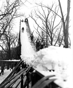 Muir Knoll ski jump, c. 1949. #040502as170
