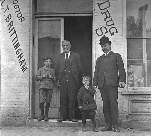 Harold and Thomas, Jr. Brittingham pictured with their grandfather, Dr. Irvin Baird Brittingham. in Hannibal, Missouri. 1902. #WI.bls0024