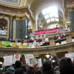 Protesters inside the Wisconsin State Capitol building, #BDP000292.