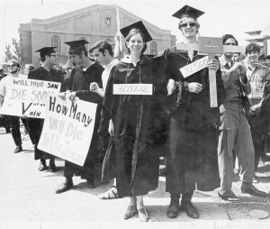 Dow protest at graduation, 1968. #S04779.