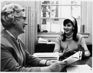 Kathryn Rice Beach, who was associate dean for admissions and counseling in the early 1970s, advises a student.