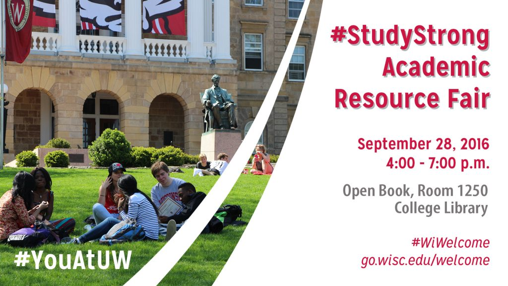 An image advertising the Academic Resource Fair featuring a photo of student studying on Bascom Hill