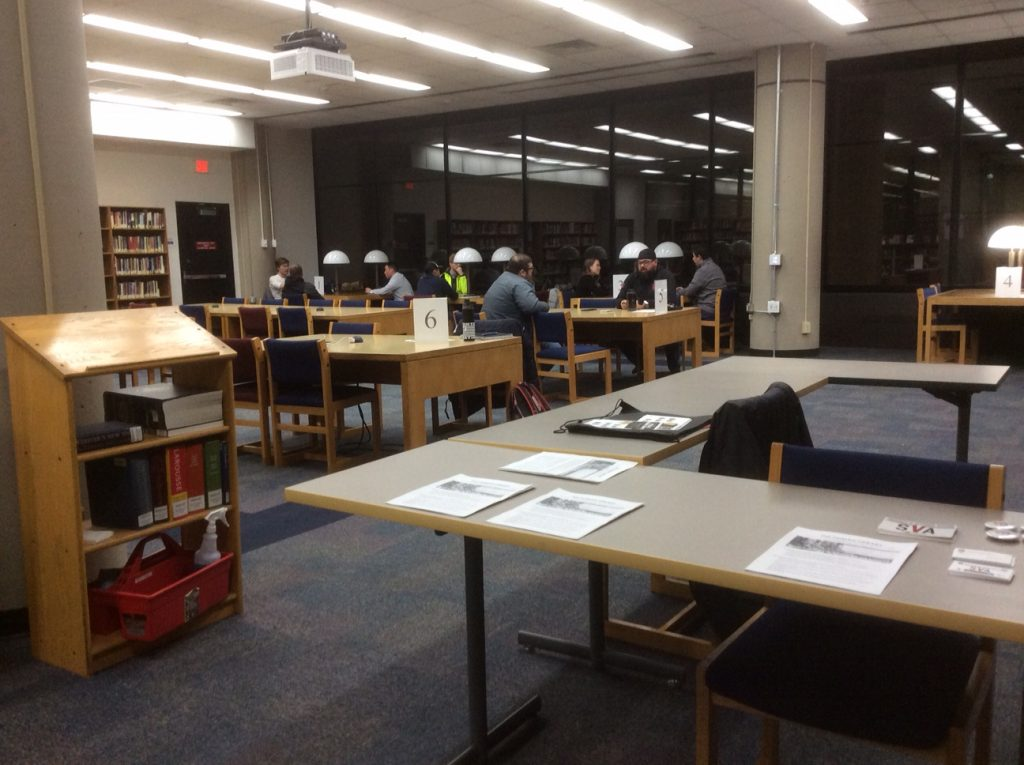 Participants in the Human Library sponsored by Student Veterans of America