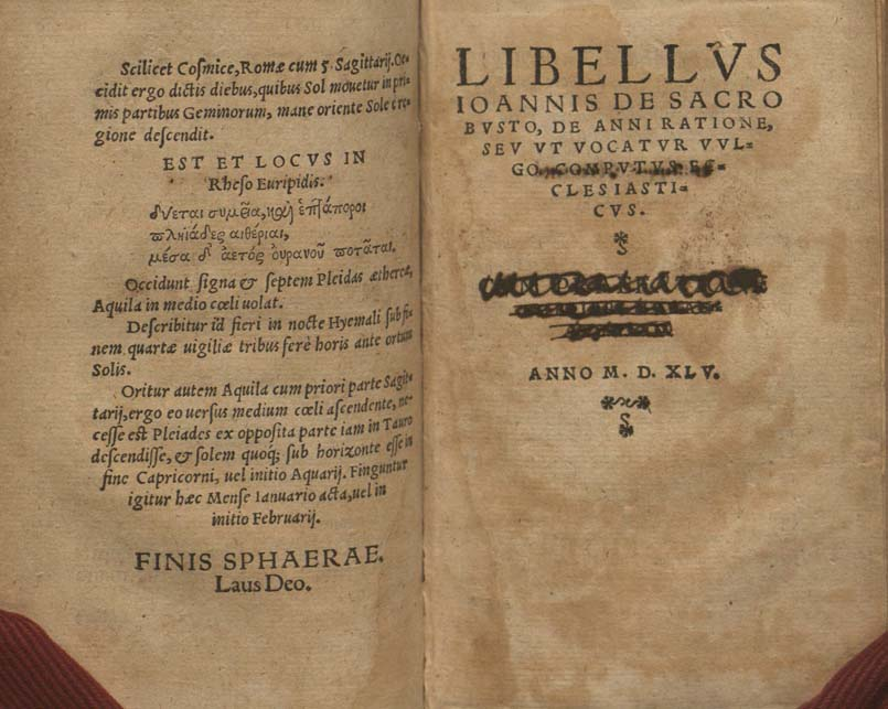 title page of work dated 1545 and facing page