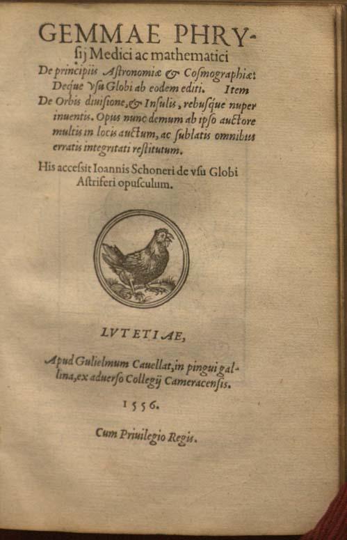 title page of Frisius Gemma, De principiis astronomiae & cosmographiae