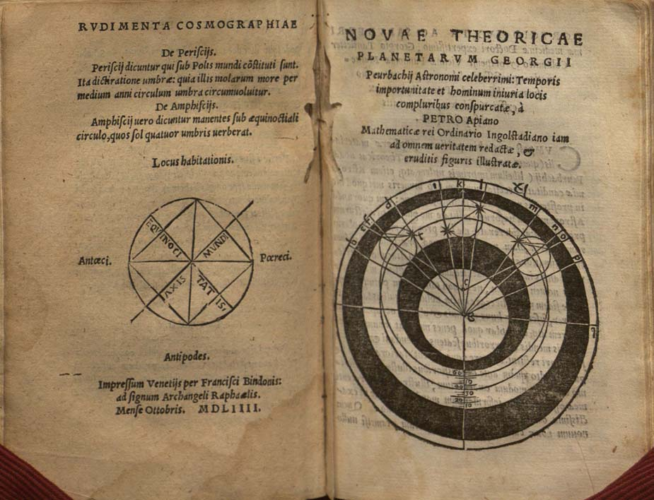 colophon for Apian, Cosmographiae introdvctio (1554) and title page for Peurbach, Novae theoricae planetarvm (1551)