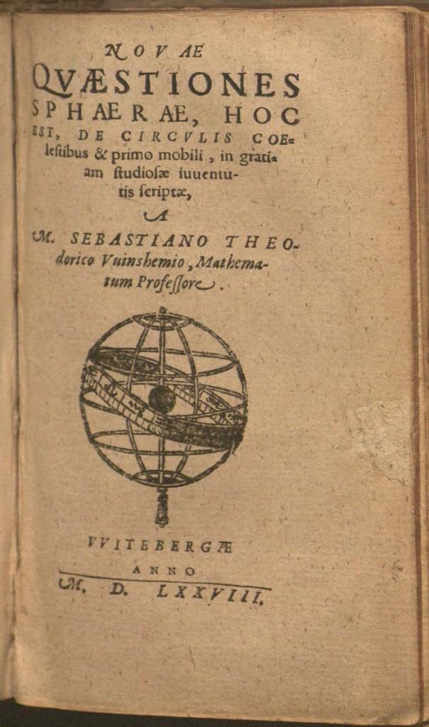 title page of Theodoricus, Novae qvaestiones sphaerae (1578)