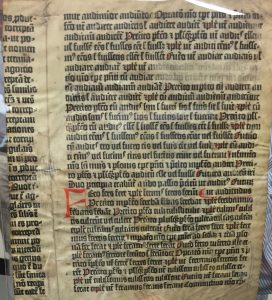 a page from a grammar of Donatus. The state of the type places it as earlier than the Gutenberg Bible. (Scheide Library, Princeton University)