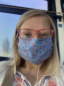 Anna Dinkel, Friends student Board member, wearing a facemask