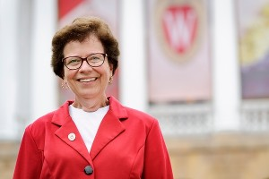 University of Wisconsin-Madison Chancellor Rebecca Blank is pictured outside Bascom Hall on July 30, 2013. (Photo by Jeff Miller/UW-Madison)