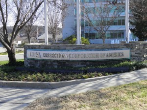 The sign outside of a Corrections Corporation of America location. Inmates who are shipped out of state are often housed at CCA private prisons.