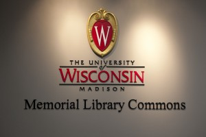Sign for Memorial Library Commons