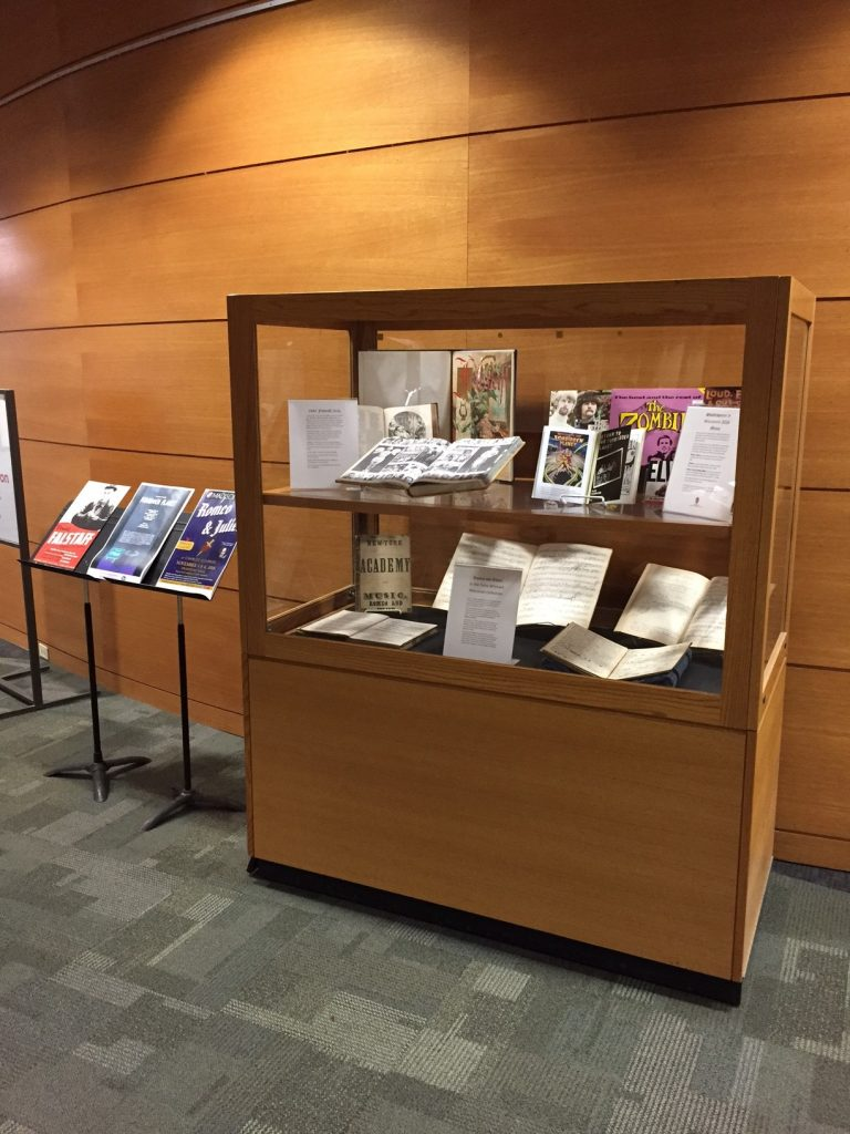 Mills Music Library materials related to Shakespeare on display in Memorial Library lobby