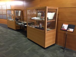 Display in Memorial Library lobby of holdings related to Madison Early Music Festival 2017