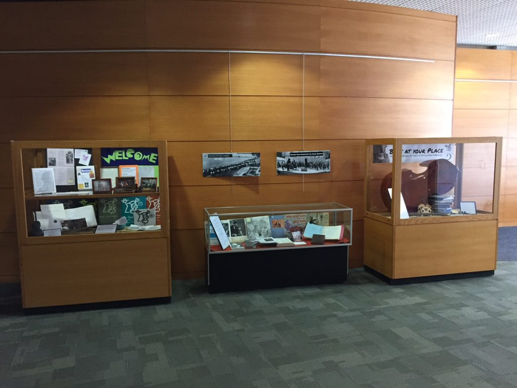 Bass At Your Place exhibit cases in Memorial Library lobby