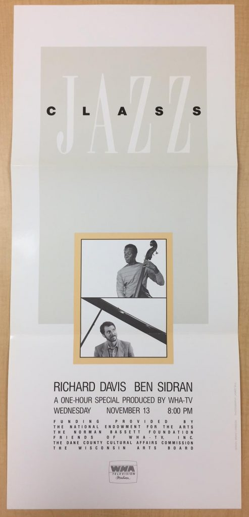 Promotional poster for Jazz Class, a one-hour special that aired November 13, 1985, on WHA-TV, featuring Richard Davis and Ben Sidran. Archives of Ben Sidran