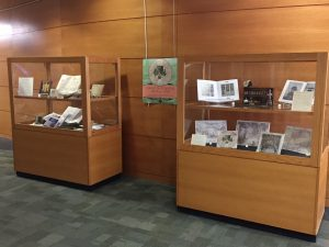 Display in Memorial Library lobby of holdings related to Madison Early Music Festival 2018