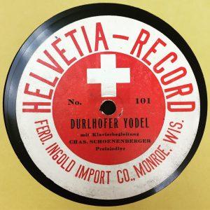 Helvetia 101 label, Durlhofer Jodel, Charles Schoenenberger