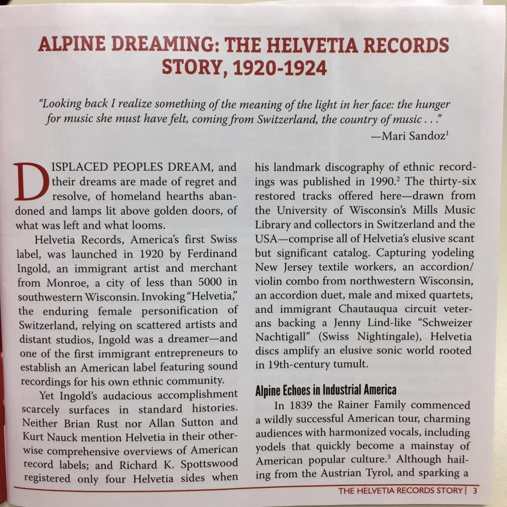 First page of Jim Leary's Alpine Dreaming liner notes