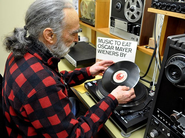 Jim Leary holding Helvetia 78 rpm record (Photo by Nathan Gibson)
