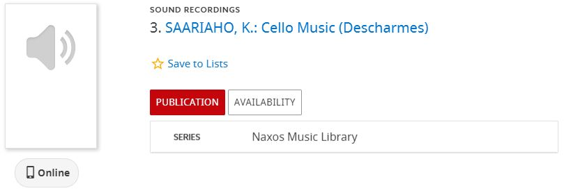 Image of a Library Catalog brief display for a Naxos Music Library recording