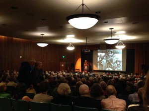 Adam Hochschild speaks to a large crowd about WWI.