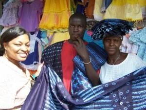 Emilie Buying Commemorative Fabric in Dakar Senegal