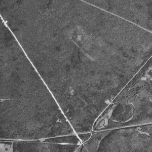 A detail of the aerial photo, highlighting the path cleared by the crashing jet, which was more than 180 feet wide and 150 feet long. Courtesy Robinson Map Library