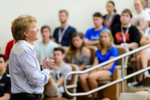 "Lori Berquam, vice provost for student life and dean of students, makes closing remarks based on the theme ""are you ready?"" while speaking to incoming first-year undergraduates during a Student Orientation, Advising and Registration (SOAR) session in a Sterling Hall classroom at the University of Wisconsin-Madison on June 22, 2016. Sponsored by the Center for the First-Year Experience, the two-day SOAR sessions provide new students and their parents and guests an opportunity to meet with staff and advisors, register for classes, stay in a residence hall, take a campus tour and learn about campus resources. (Photo by Jeff Miller/UW-Madison)"