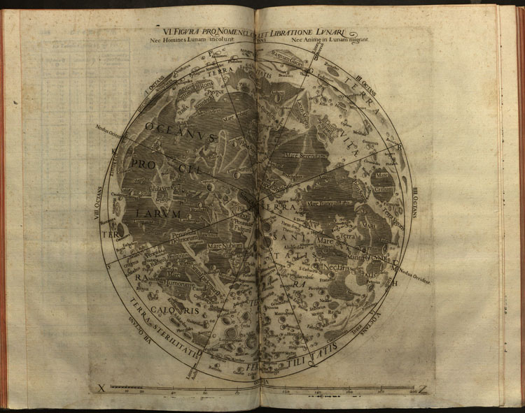 two-page illustration of moon's surface from Riccioli's Astronomia reformata (1665)