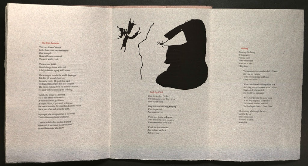 Foldout page opening from Rose Drachler and Jacob Drachler, For witches  (Black Mesa Press, 1982). From Special Collections, Memorial Library, University of Wisconsin-Madison.