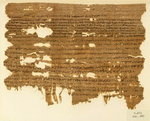 Papyrus fragment, containing a will of the type usual in Oxyrhynchos. P.Wisc. inv. 41. Early 2nd century, C.E. [A.D.] From the Papyri Collection Department of Special Collections, Memorial Library, University of Wisconsin-Madison. Digitized as part of