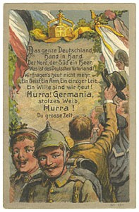 Postcard celebrating German unity in World War I. From the Andrew Laurie Stangel Collection, Department of Special Collections, Memorial Library, University of Wisconsin-Madison. One of scores of postcards from the Stangel Collection available in the University of Wisconsin Digital Collection.