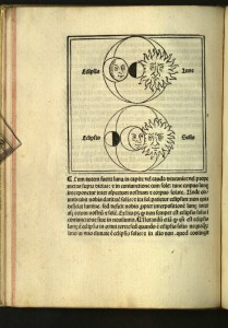 Leaf c[i] verso, depicting eclipses, in the Ratdolt edition of Sacrobosco's treatise On the sphere (1482). From the Department of Special Collections, Memorial Library, University of Wisconsin-Madison.