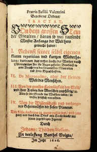 Fratris Basilii Valentini Benedicter Ordens Tractat von dem grossen Stein der Uhralten (1626). From the Duveen Collection. Department of Special Collections, Memorial Library, University of Wisconsin-Madison.